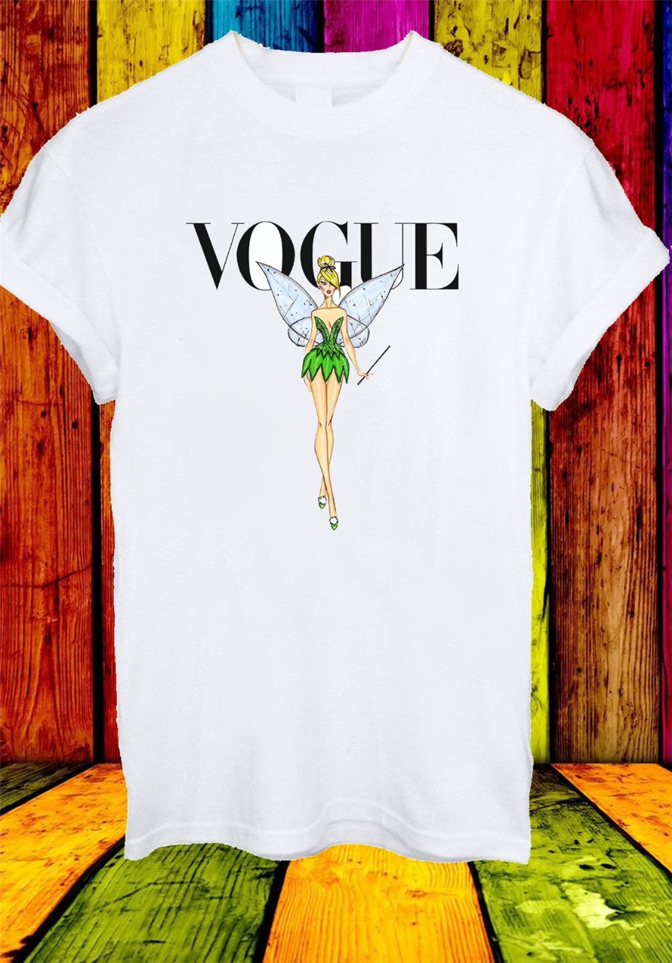 Vogue Cover Fairy Tinker Bell Peter Pan Men Women Unisex T-Shirt 2743 Streetwear Tee Shirt