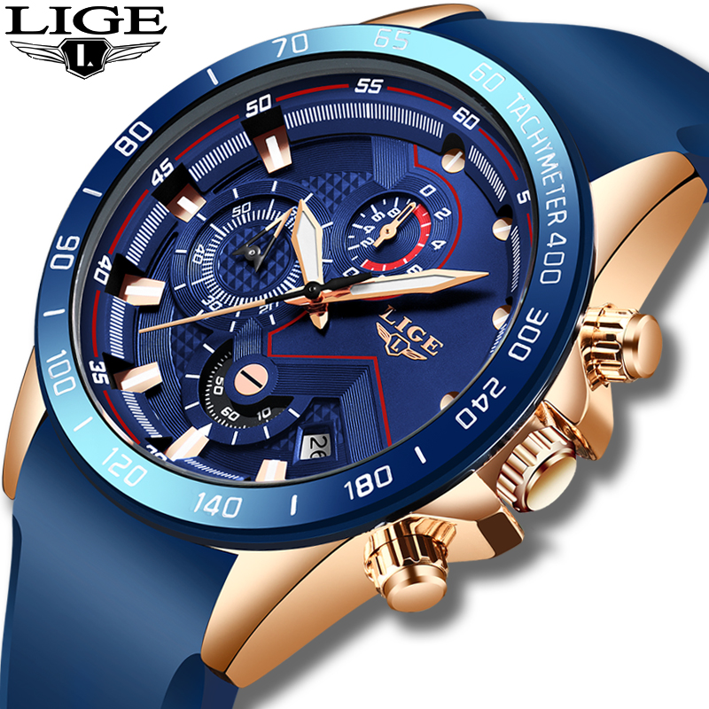 Relogio Masculino 2019 New Fashion Blue Quartz Gold Watch Mens Watches Top Brand Luxury Clock Male Sport Waterproof Chronograph