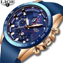 Reloj de cuarzo azul dorado para hombre, cronógrafo deportivo, resistente al agua, Masculino, 2019