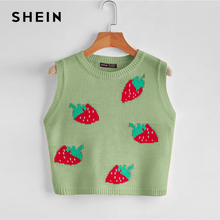 SHEIN Mint Green Strawberry Pattern Sweater Crop Vest Women Spring Sleeveless Round Neck Cute Top Slim Fit Casual Vests