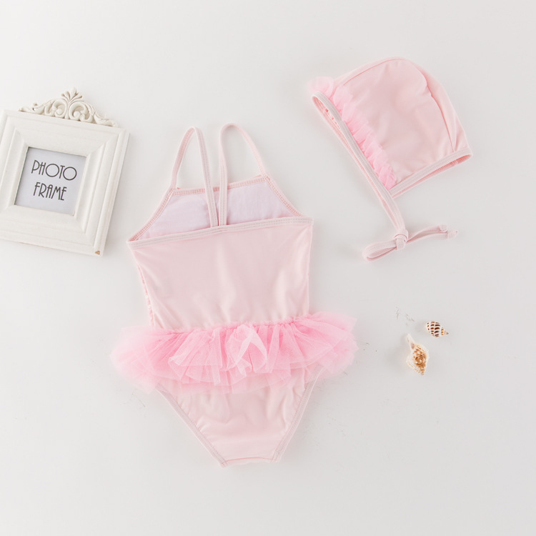 Korean-style KID'S Swimwear Girls Siamese Swimsuit Sequin Lace Mesh Dress Swimwear Holiday Hot Springs Tour Bathing Suit