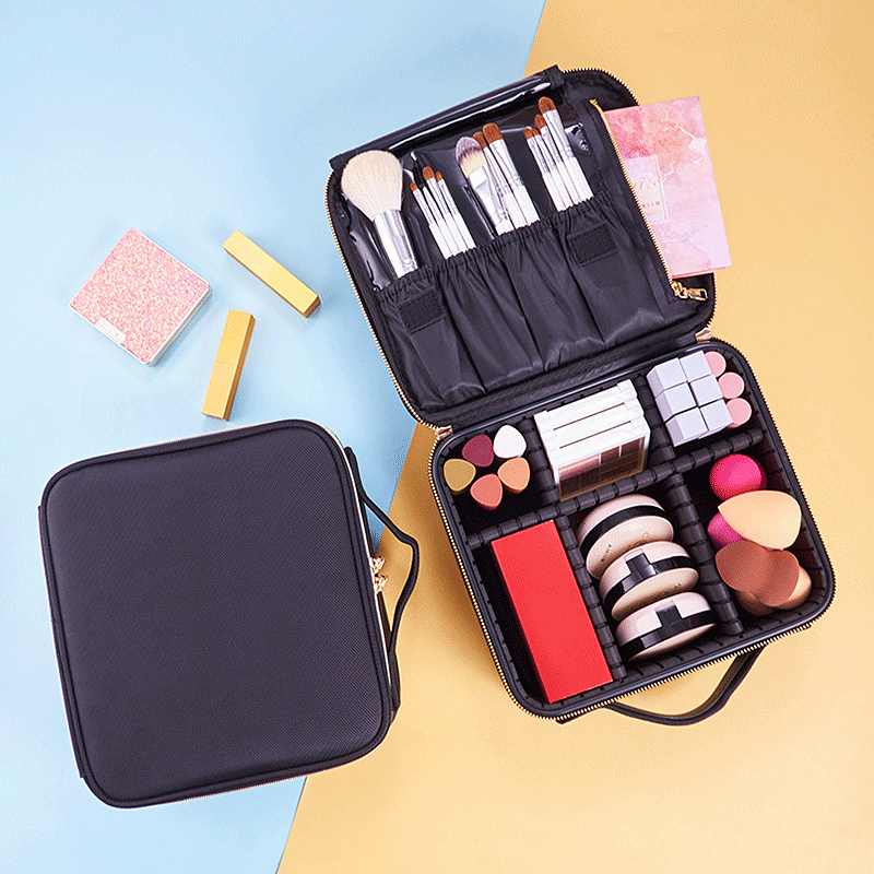 Makeup Organizers Travel Cosmetic Box Brush Lipstick Holder Metal Zipper Case Desktop Beauty Jewelry Container Bathroom Storage
