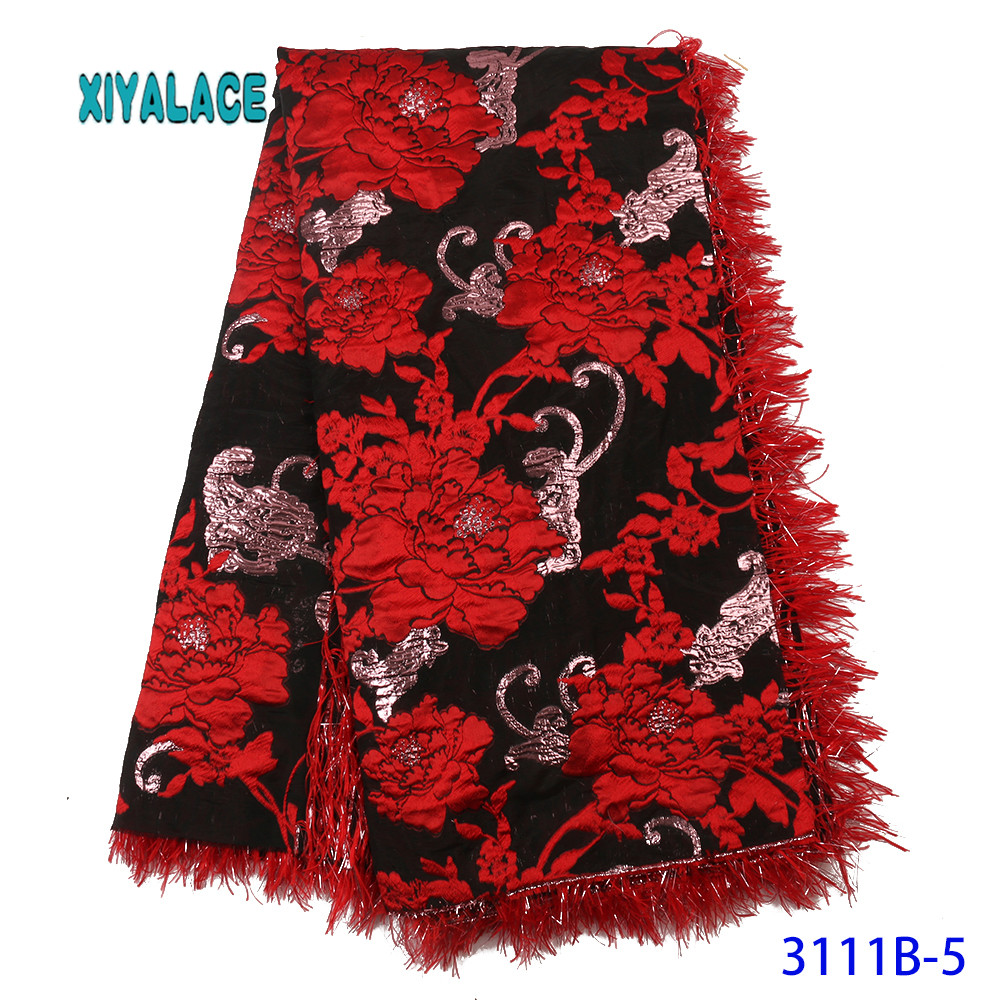 Red Lace Fabric 2019 High Quality Lace Nigerian Lace Fabric For Women Dress African Tulle Lace With 5yards Per Piece YA3111B-5