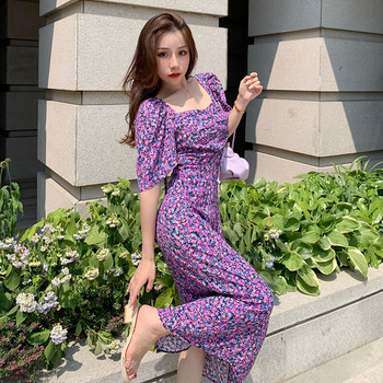 Women Long Purple Chiffon Floral Dress Summer 2020 Runway Vintage Elegant Wrap Dress Boho Casual Party Beach Vacation Dresses delocah new women autumn dress runway fashion 3 4 sleeve floral printed beading back zipper elegant vintage party mini dresses