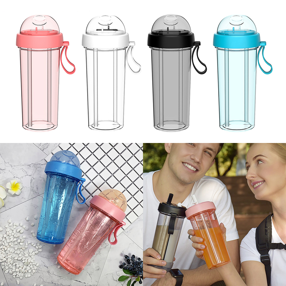 1Pc Double Sippy Drink Cup Creative Lovers Water Bottle Outdoor Sports Tumbler Coffee Mug Double Tube Opening Design Keep Cup|Water Bottles|   - AliExpress