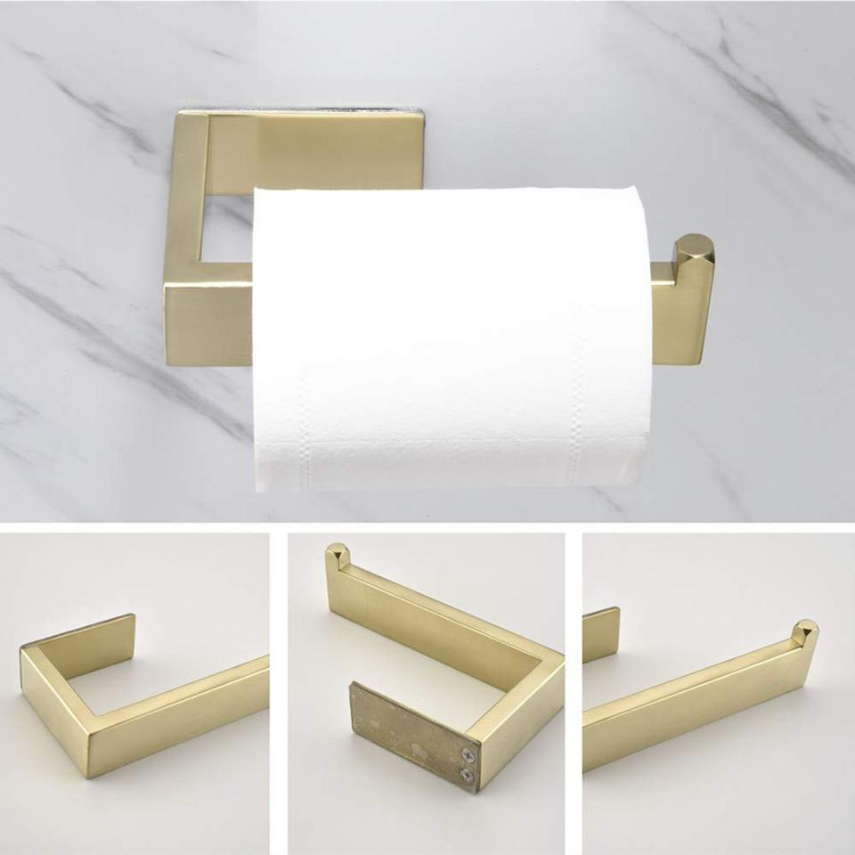 3M Self Adhesive Brushed Gold Towel Bar Ring SUS304 Bathroom Roll Paper Holder