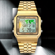 SANDA Men Watches Top Brand Luxury Gold Watches Men LED Digital Watches Men Sports Watches Relogio Masculino Montre Homme cheap 23cm Alloy Hook Buckle 5Bar Fashion Casual 40mm 11mm Hardlex LED display Repeater luminous Auto Date Chronograph Complete Calendar