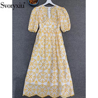 Svoryxiu Sexy Deep V Neck Summer Party Dresses Women's Elegant Half Sleeve Hollow Out Embroidery Colorful Midi Dress Designer