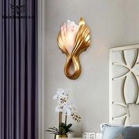 Modern LED Golden Shell Wall Lamp Nordic Art Luxury Mirror Bathroom Living Room Wall Light Aisle Wall Sconce Lamp Light Fixtures