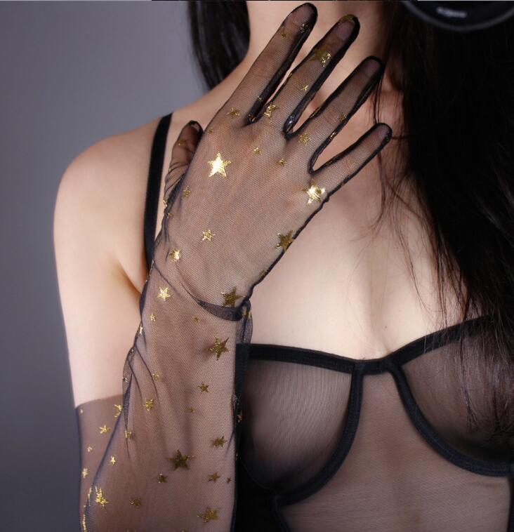 Women's Sexy Shiny Gold Star Transparent Black Mesh Glove Female Spring Summer Sunscreen Long Glove R1864