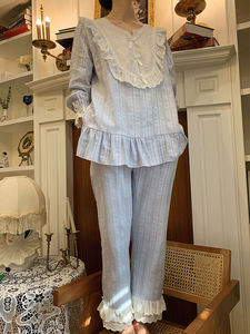 Image 5 - Womens Lolita Pajama Sets.Lace Embroidered Flowers Tops+Long Pants.Vintage Ladies Pyjamas Set.Victorian Sleepwear Loungewear