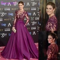 Elegant Grape Celebrity Evening Dresses Sheer Long Sleeve Lace Beaded Long Custom Made 2019 Prom Special Occasion robe de soiree