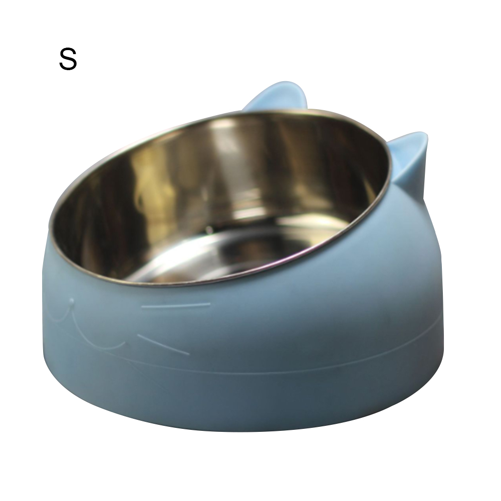 Stainless Steel Puppy Cats Food Drink Water Feeder Pet Cat Neck Protection Dish Bowl 15 Degree Pet Tilted Bowl With Ceramic Base