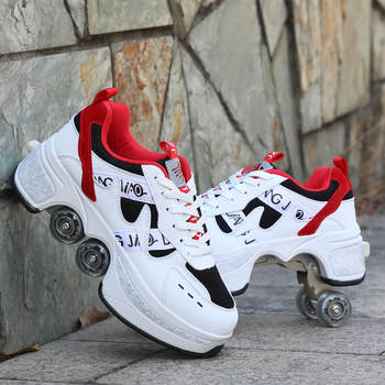 2021 Roller skates 4 wheels adults unisex casual shoes children skates Deformation Parkour Sneaker Four Wheels Rounds Of Running