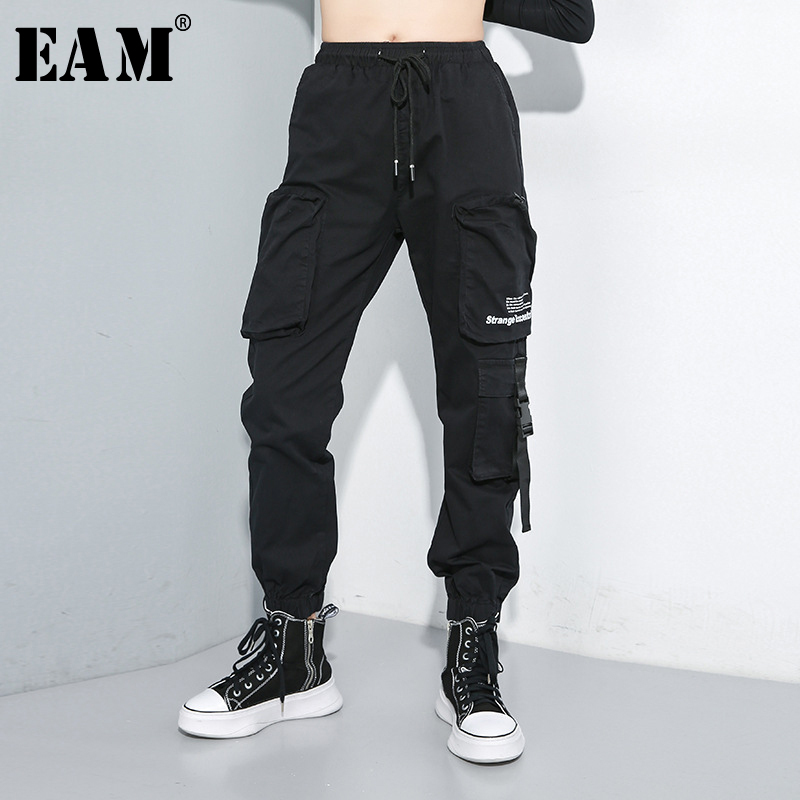 [EAM] High Elastic Waist Black Pockets Personality Trousers New Loose Fit Pants Women Fashion Tide Spring Autumn 2019 1A703