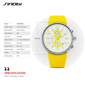 Image 5 - SINOBI Fashion Mens Sports Watches Stopwatch Waterproof Silicone Band Running Chronograph Watch 3 Colors relojes para hombre