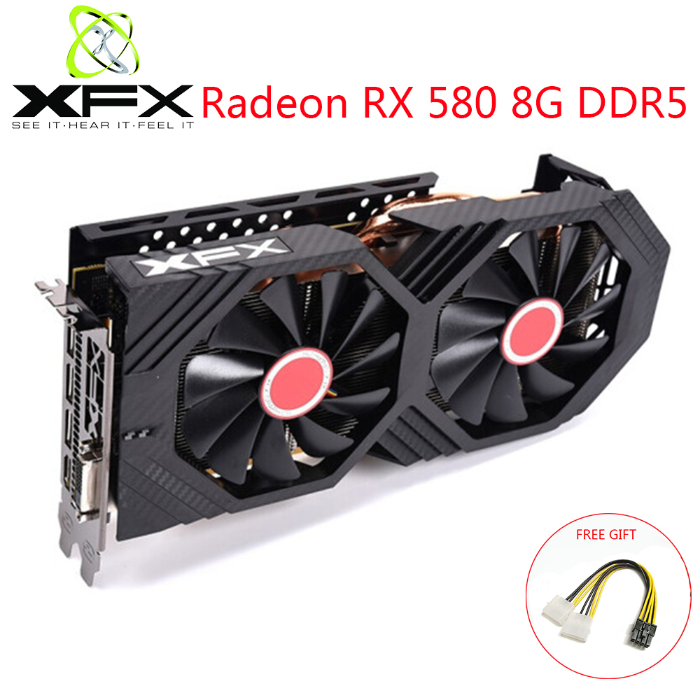 XFX Radeon RX580 8GB DDR5 Video Card AMD GPU RX580 8GB 256 Bit Graphics Card Video Game PC Video Card Used Original Video Cards image