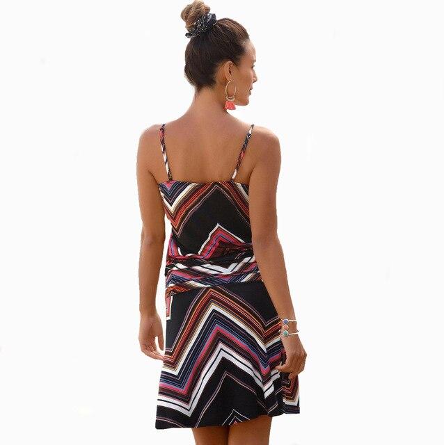 HOUZHOU Women Summer Loose Printed Straps Dress Casual Sleeveless Bandage Sexy Female Short Dress Plus Size Dresses Beach Style 3