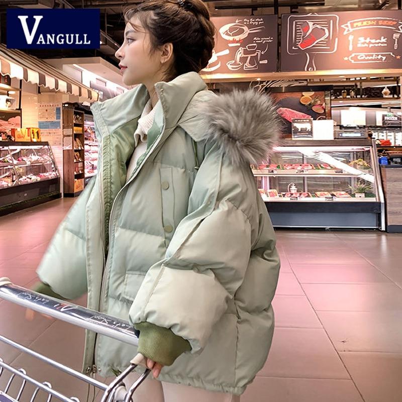 Vangull/женская зимняя куртка парка с большим меховым воротником, пальто с капюшоном, новинка 2019 года, повседневные плотные Свободные Женские однотонные парки с длинным рукавом, пальто