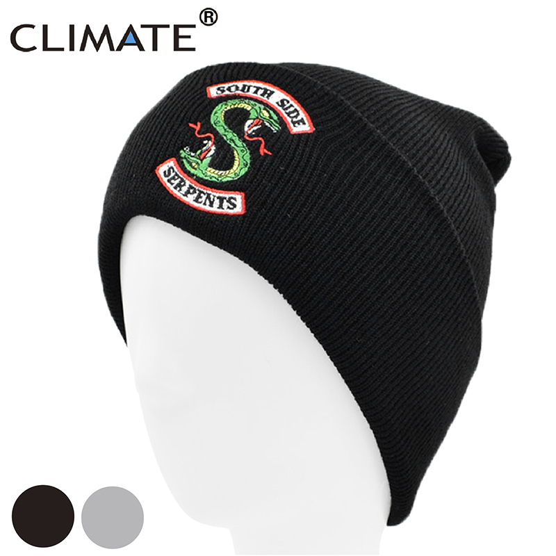 CLIMATE Riverdale Snake Beanie Hat South Side Serpents Winter Hat Beanie Men Snake Black Warm Knit Beanie Black Hat Caps For Men