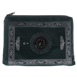 Image 4 - Мусульманский молитвенный коврик, переносные плетеные коврики из полиэстера, простой принт с компасом в сумке, новый стильный Дорожный Коврик для дома, Одеяло 100*60 см