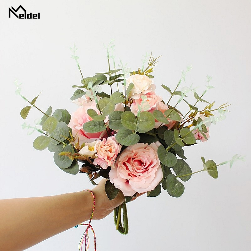 Meldel Wedding Bouquet Bridal Bouquet Artificial Silk Rose Peony Flower Eucalyptus Leaf Marriage Flower Wedding Supply Wholesale