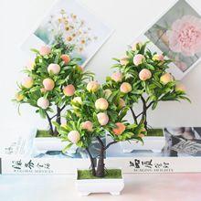 16 голов искусственного персикового дерева в горшках домашний сад бонсай украшения поддельные растения