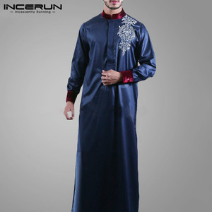 INCERUN Muslim Islamic Kaftan Men Long Sleeve Stand Collar Vintage Printed Robes Caftan 2020 Dubai Abaya Arabic Mens Jubba Thobe