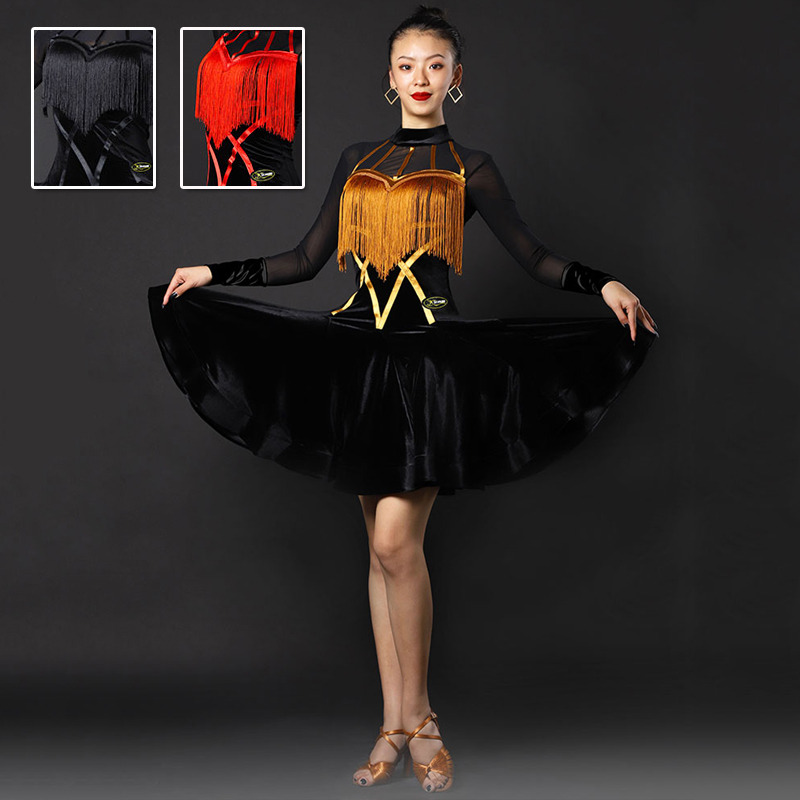 New Latin Dance Dress Sexy Tassel Competition Clothing Jiteba Dance Skirt Women Dance Samba Club Party Show Stage Dress BL3411