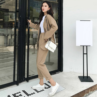Work Pant Suits OL 2 Piece Sets Double Breasted Blazer Oversized Trousers Suit For Women Set Feminino OL fashion