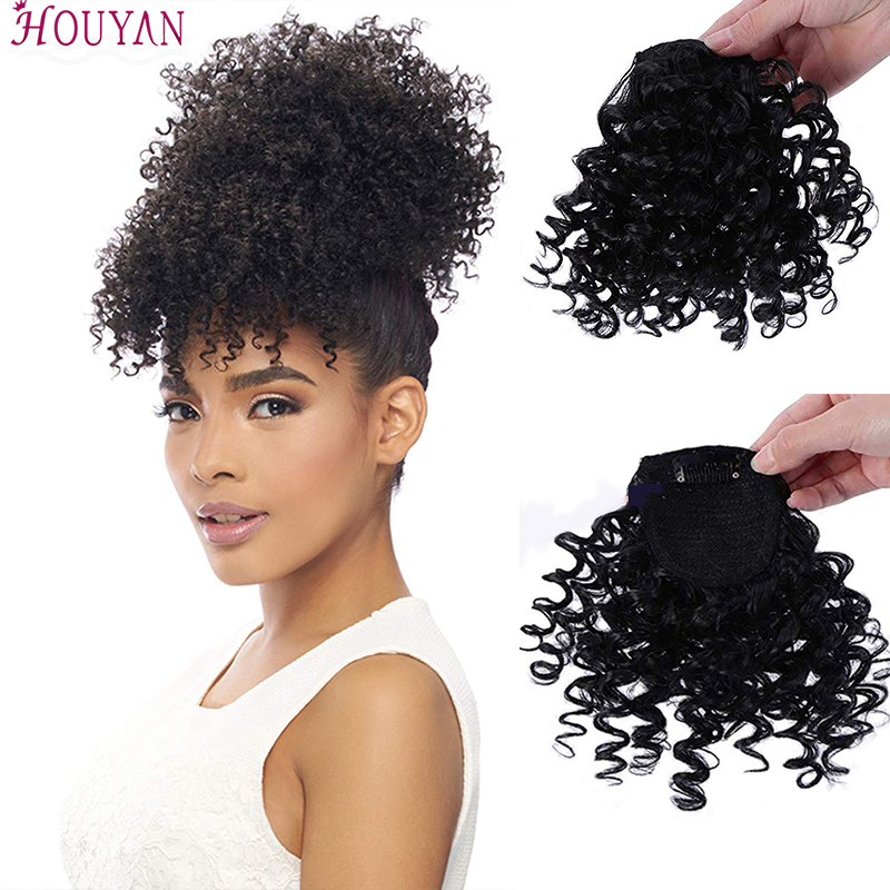 HOUYA Fake Fringe Kinky Curly Clip In Bangs Wig False Natural Hair Bangs Synthetic Hair Pieces For Women