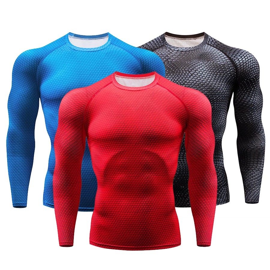 Mens Cool Dry Compression Gym Shirt Baselayer Long Sleeve Running Tee Red