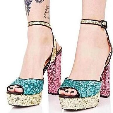 Moraima Snc Colorful Glitter Embellished High Heel Sandal Woman Sexy Peep Toe Platform Thick Heels Shoes Ankle Strap Sandal