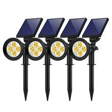 DCOO Solar Outdoor Spotlights Lights  2-in-1 4 LED Adjustable Wall Light Landscape Lighting Bright and Dark Sensing Auto On/Off