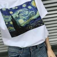 Vincent Van Gogh Harajuku Ästhetischen T Shirts Frauen Ölgemälde Ullzang Lustige T-shirt 90s Vintage T-shirt Fashion Top Tees weibliche