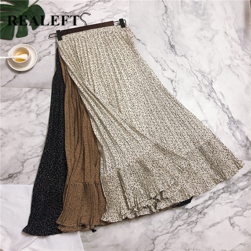 REALEFT Spring Summer 2020 Print Bohemian Ruffles Pleated Skirt Elegant Beach Chiffon Midi Skirts High Waist Tulle Skirts Female