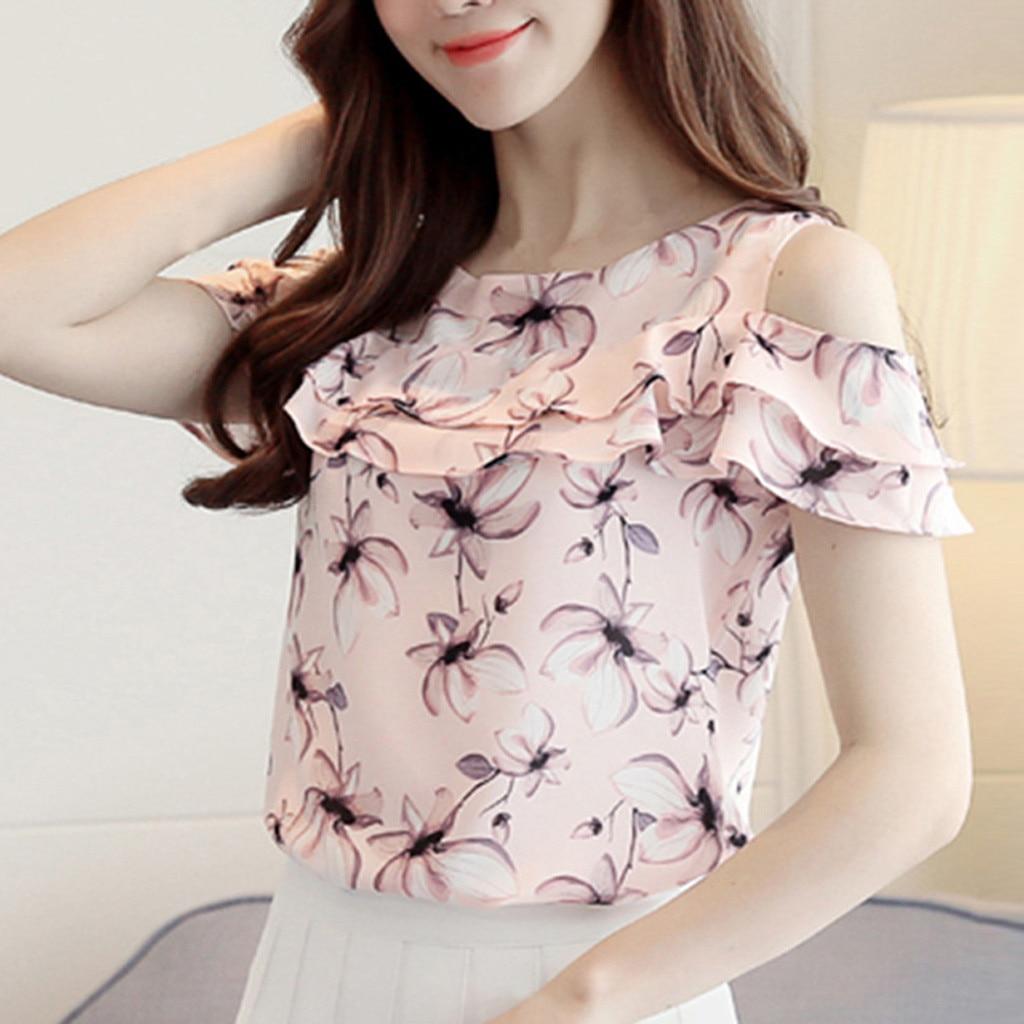 Womens Chiffon Blouse Elegant Summer Women Off Shoulder Ruffles Tops Casual Floral Print Blouses  7.31