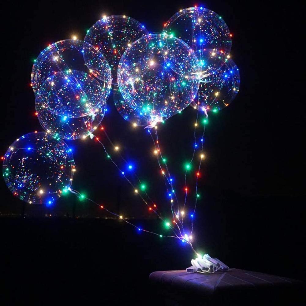 Прозрачные рождественские светодиодные светящиеся воздушные шары Bobo, 10 упаковок, гелиевые светящиеся воздушные шары с гирляндой для новог...
