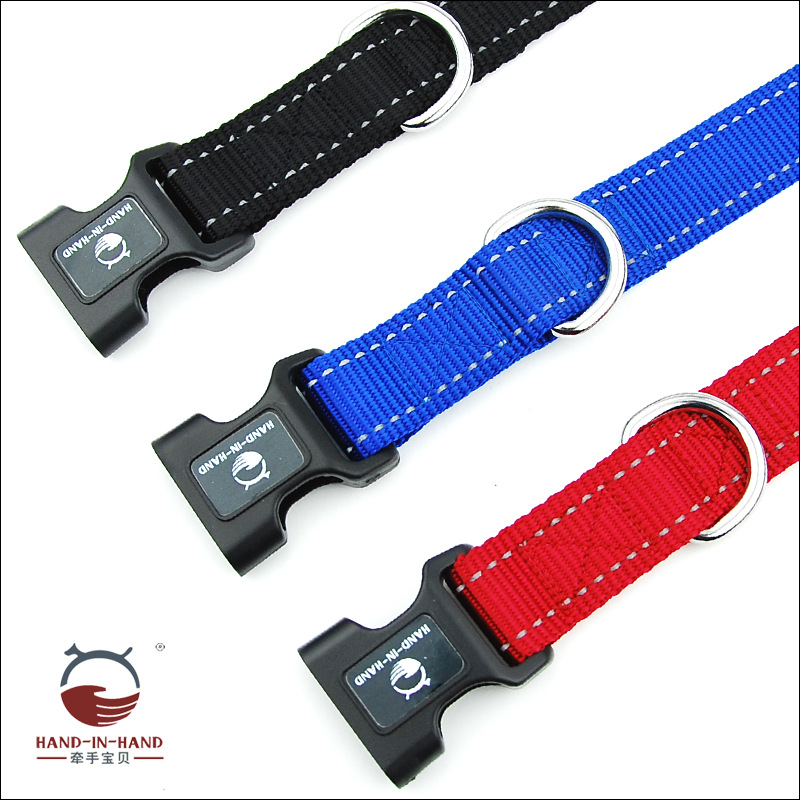 Hand-in-hand Pet Supplies Pet Collar Large Dog Collar Dog Supplies Webbing Reflective Neck Band