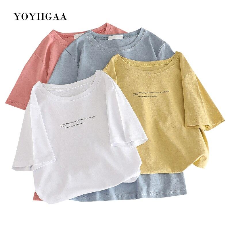 Letter Print Woman Tshirt Summer Women T-shirts Tops Fashion Female T-shirt O-neck Short Sleeve Ladies T Shirt White Tees Tops