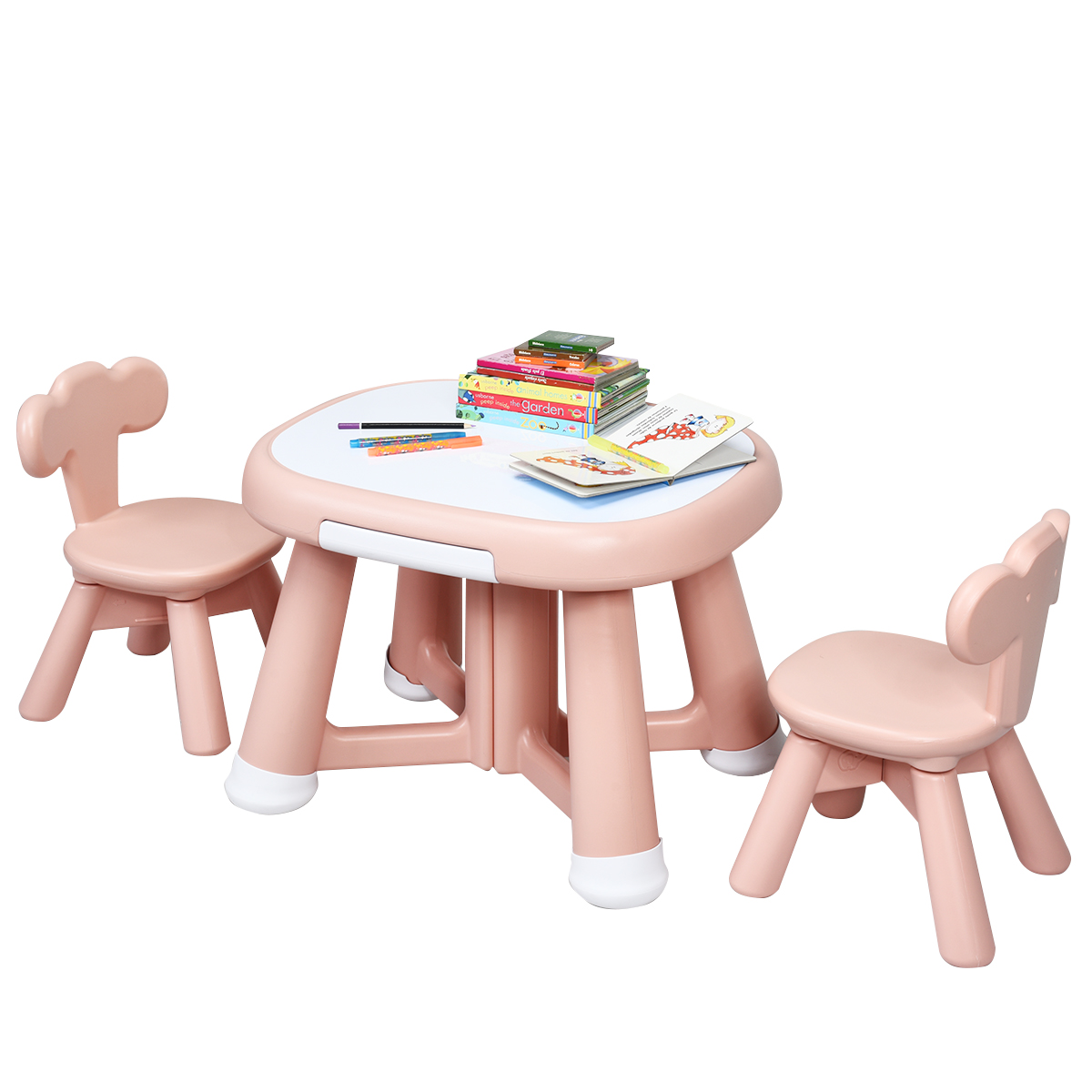 Kids Playing Studying Table Chair Set w/2 Chair Storage Bins Classroom Pink