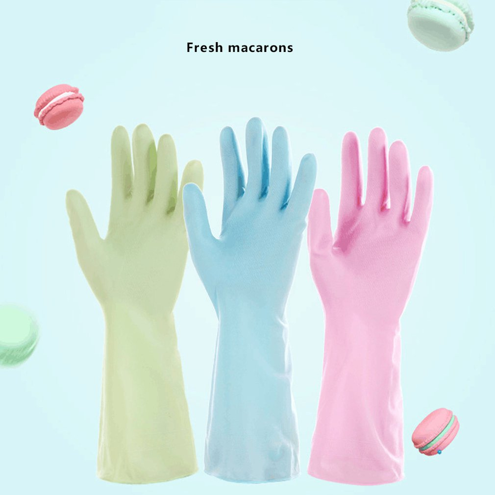 1 Pair Waterproof Rubber Latex Flannel Gloves Kitchen Household Cleaning Glove