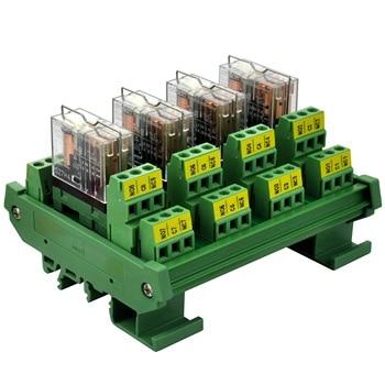 ELECTRONICS-SALON DIN Rail Mount AC/DC 12V Control 4 DPDT 5Amp Pluggable Power Relay Interface Module.