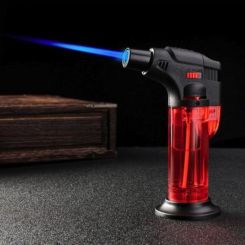Ветрозащитная газовая зажигалка, Бутановая Зажигалка для сигар, пистолет-распылитель, большая Сварочная горелка Firepower, для домашнего приго...