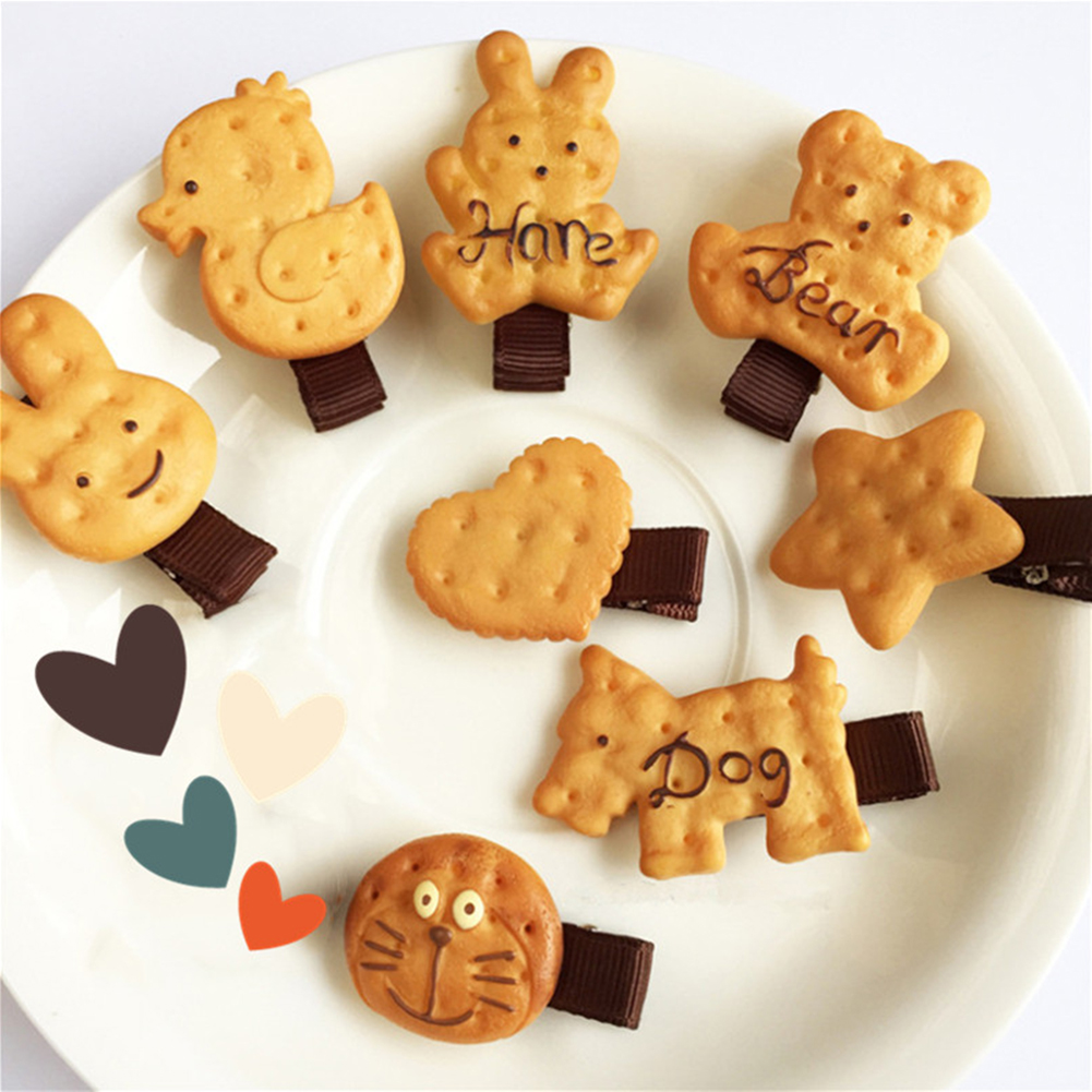 Simulation Cookie Bear Cat Dog Animal Heart Hairpin Hair Clip Hair Ring Elastic Rubber Bands Hair Rope For Baby Girls Cute