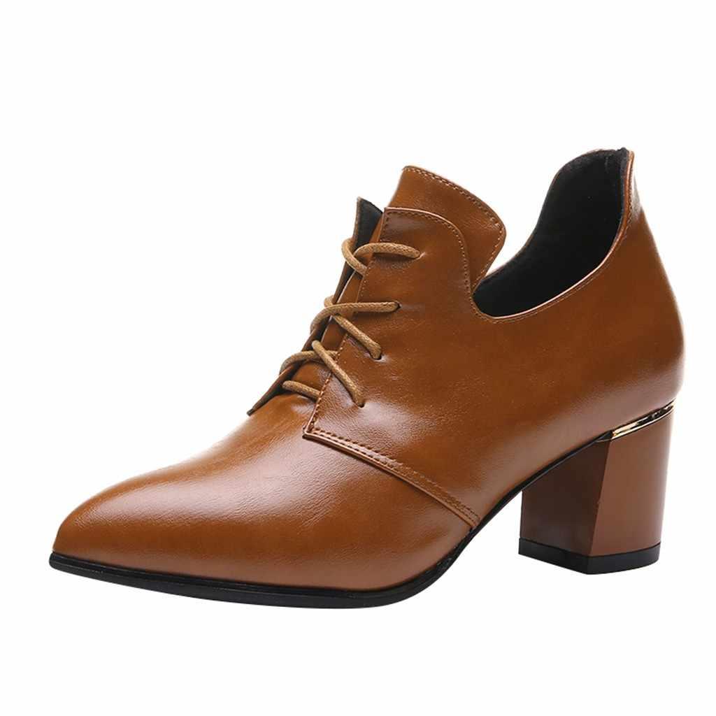 ผู้หญิงรองเท้าลูกไม้ Elegant ข้อเท้ารองเท้าหนารองเท้าบูทรองเท้ารองเท้า 2019 ฤดูใบไม้ผลิฤดูใบไม้ร่วงใหม่นุ่ม Elegant รองเท้า