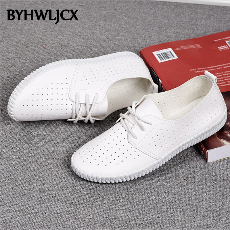Summer leather woman shoes casual white tie rubber soft bottom sneakers quality PU breathable sandals in Women 39 s Flats from Shoes