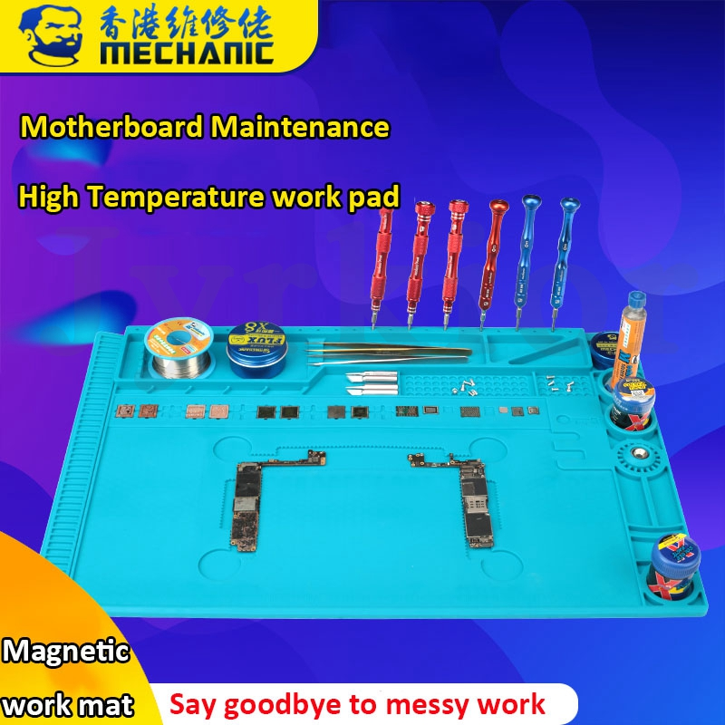 Mechanic Mobile Phone Motherboard Maintenance Blue High Temperature Resistant Work Mat Silicone Rubber Storage Pad