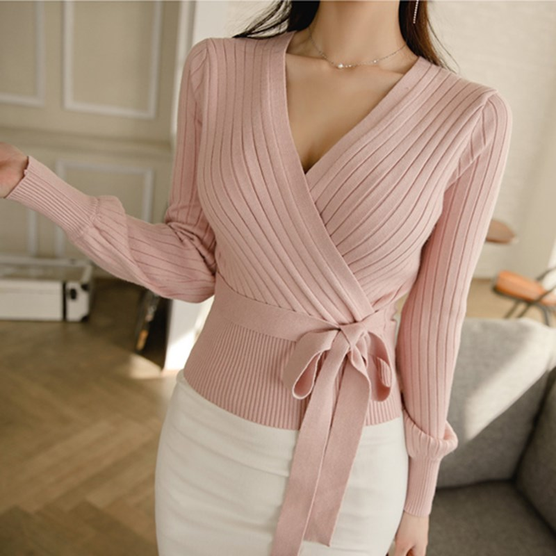 Fashion Elegant Pink V Neck Long Sleeve Up Wrap Sweater Pullovers Women 2019 Spring Fall Black Knitted Jumper Ladies Tops