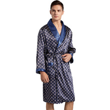 Men Robe 5XL 4XL 3XL Silk Bathrobe Soft Cozy long sleeve One Piece kimono Men Bath Gown Printed Robes Satin Sleepwear sleep tops